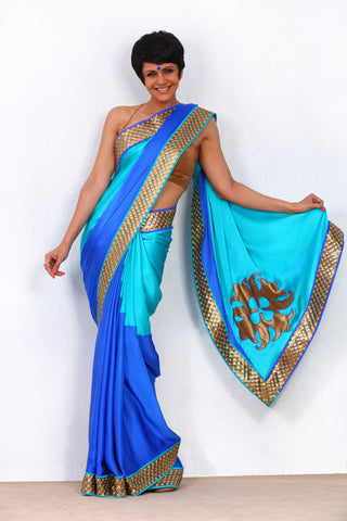 Blue Saree with Sequin Border and Logo