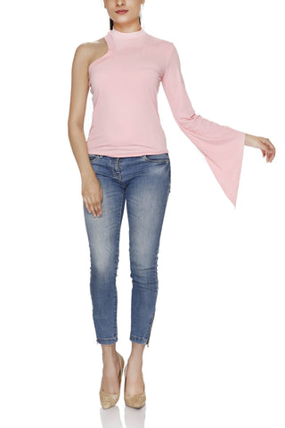 Polo Neck One Shoulder Full Sleeve Top