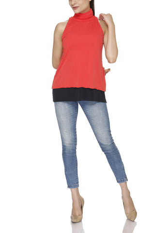 Polo Neck Double Layered Top
