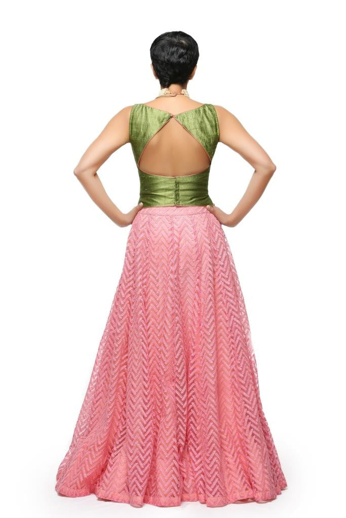 Pink Thread Work Skirt with Green Top