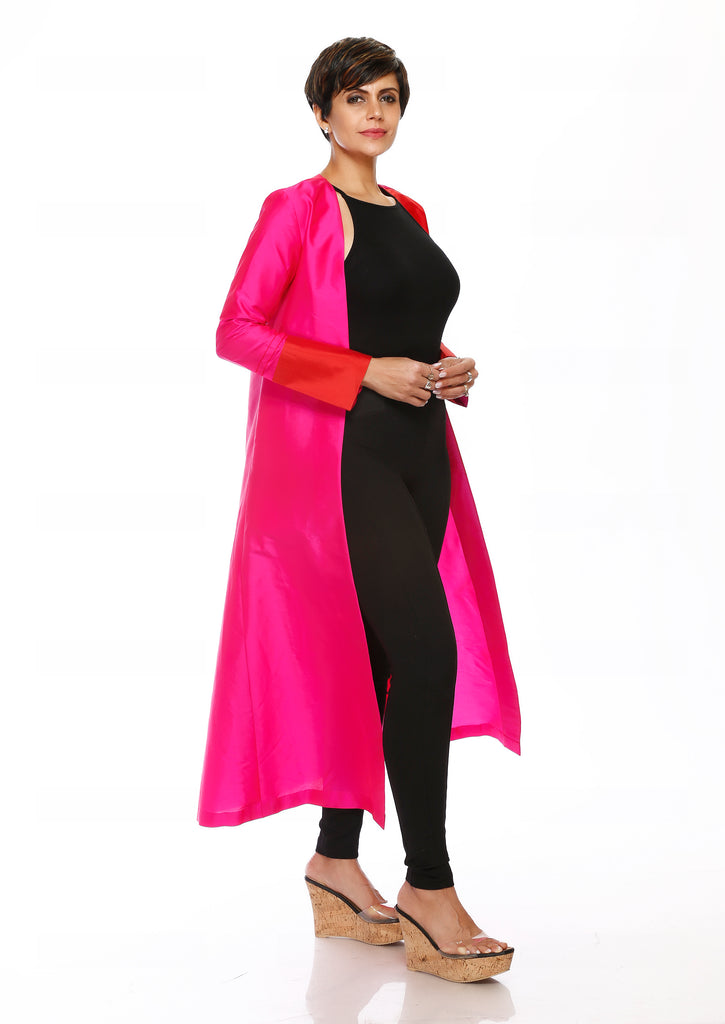 Color-Block Red &  Pink Duster Coat