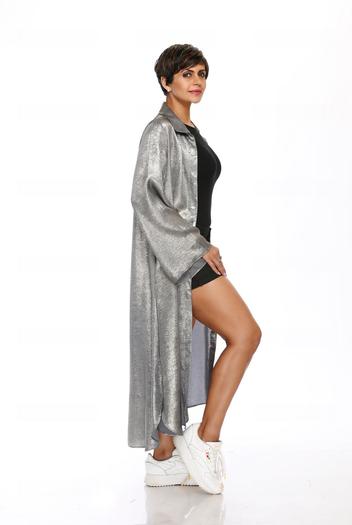 Shimmer Grey Jacket with Bell Sleeves