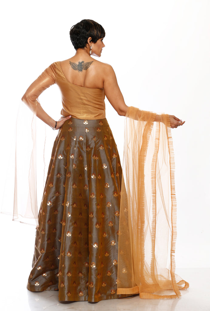 Glamorous Antique gold Skirt & Top