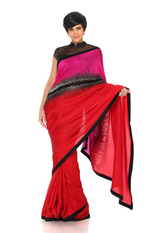 Pink and red saree with sequin hand Embroidery