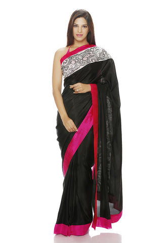 Black Silk saree with an embroidered panel