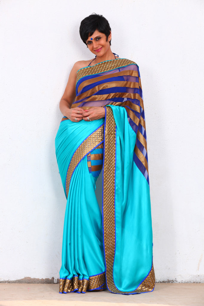 Blue Saree with Gold Stripes on Pallu