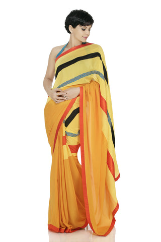 Yellow Saree with Embroidered Lines