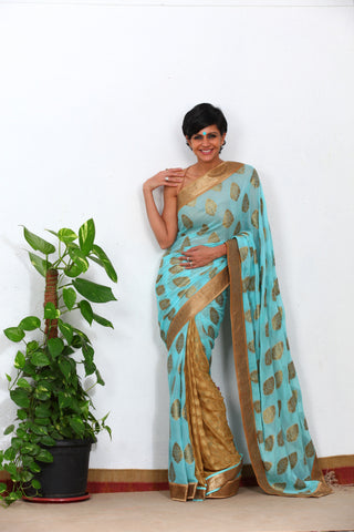 Blue and Beige Saree with Sequin Border