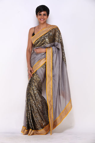 Grey Saree with a Sequin Panel