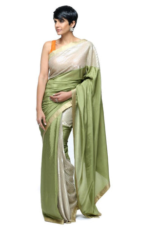Green Sari With Sequins Panel