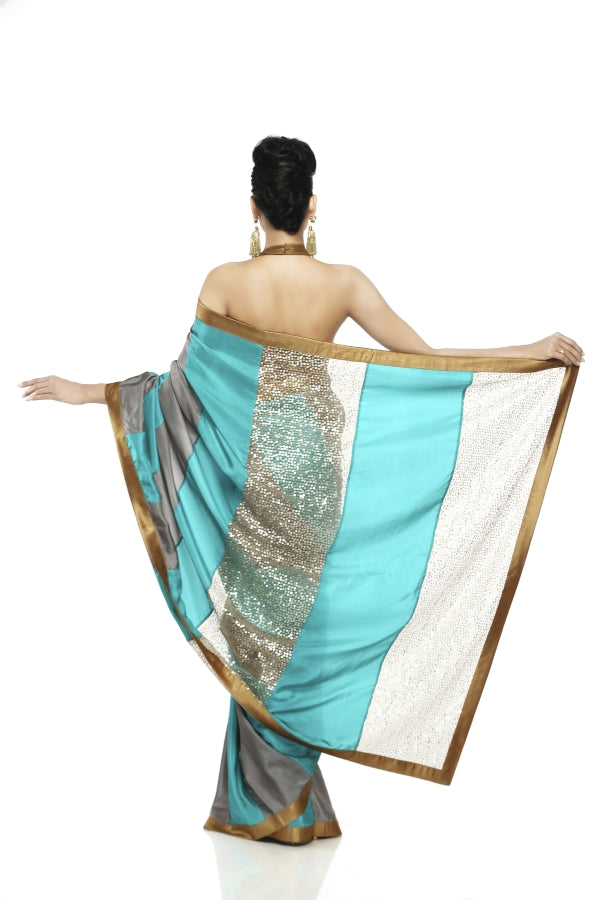 Grey & Sea Green Habotai Silk