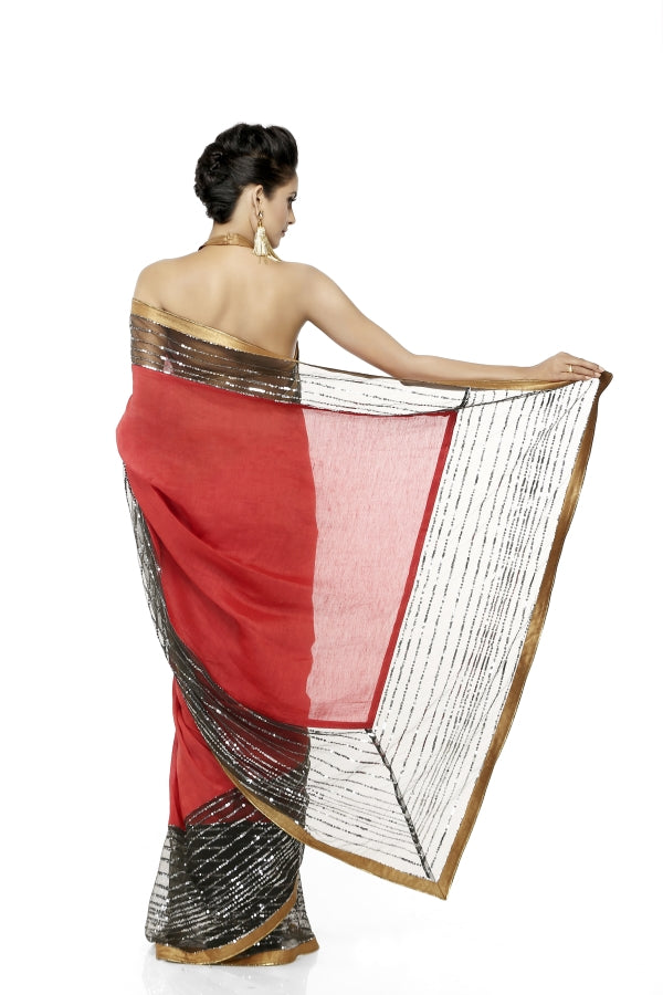 Red Linen Sari with Sequins Border