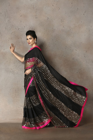 Black Habotai Silk Sari with Sequins
