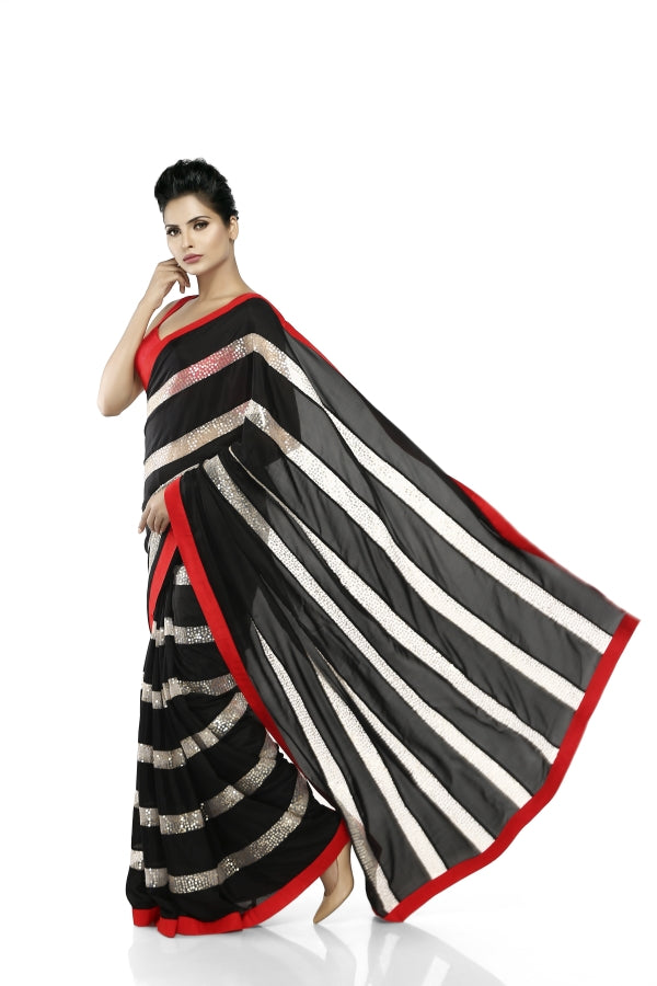 Black & White Net Sequins Sari
