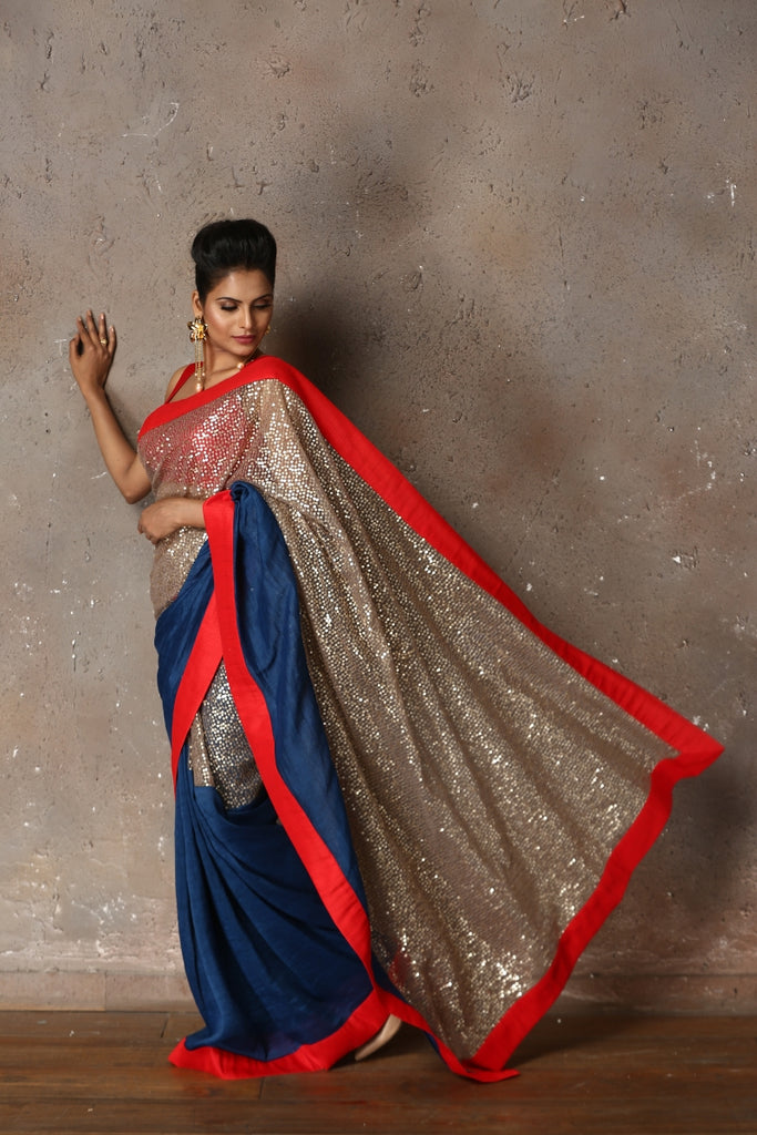 Blue & Grey Sequin Sari