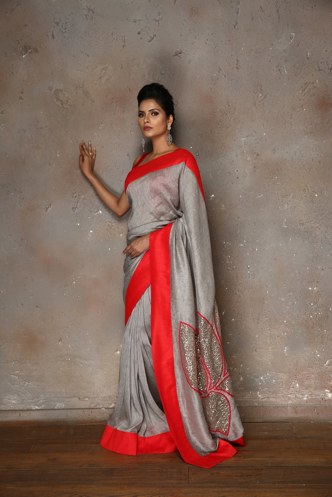 Grey Linen Sari with Lotus Cut-work on Pallu