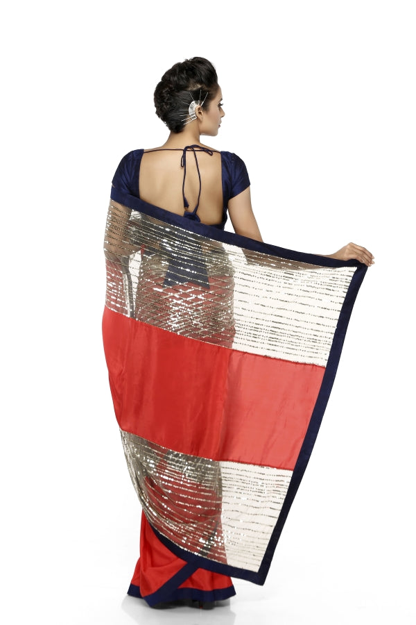 Red & Grey Sequins Sari