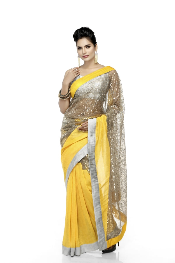Yellow & Grey Sequin Sari