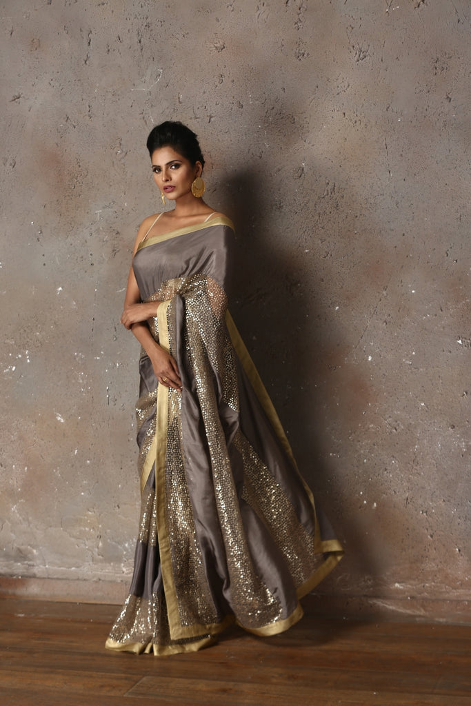 Grey Habotai Silk Sari with Sequins