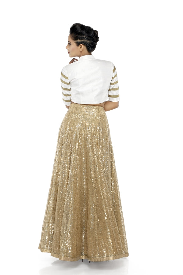 Beige Sequins Skirt with White Jacket