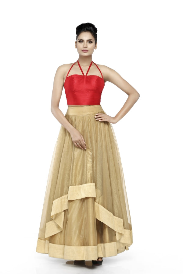 Antique Gold Skirt with Red Top.