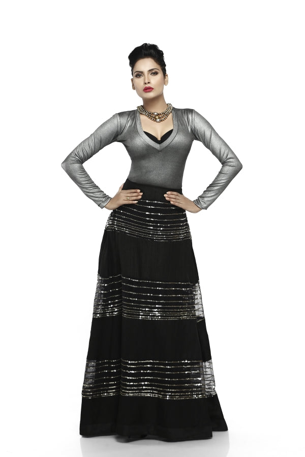 Black Sequins Skirt with Silver Top