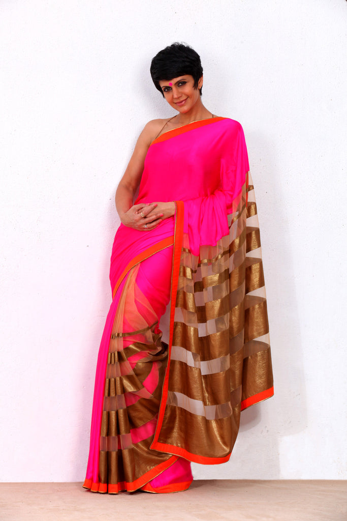 Pink and Gold Satin Georgette Saree