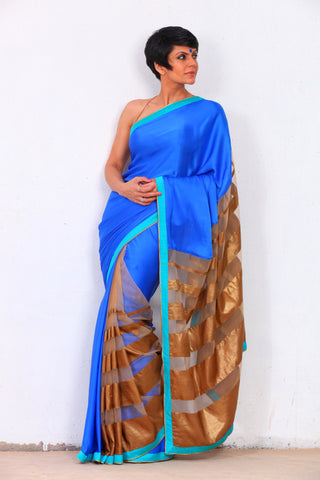 Blue and Gold Satin Georgette Saree