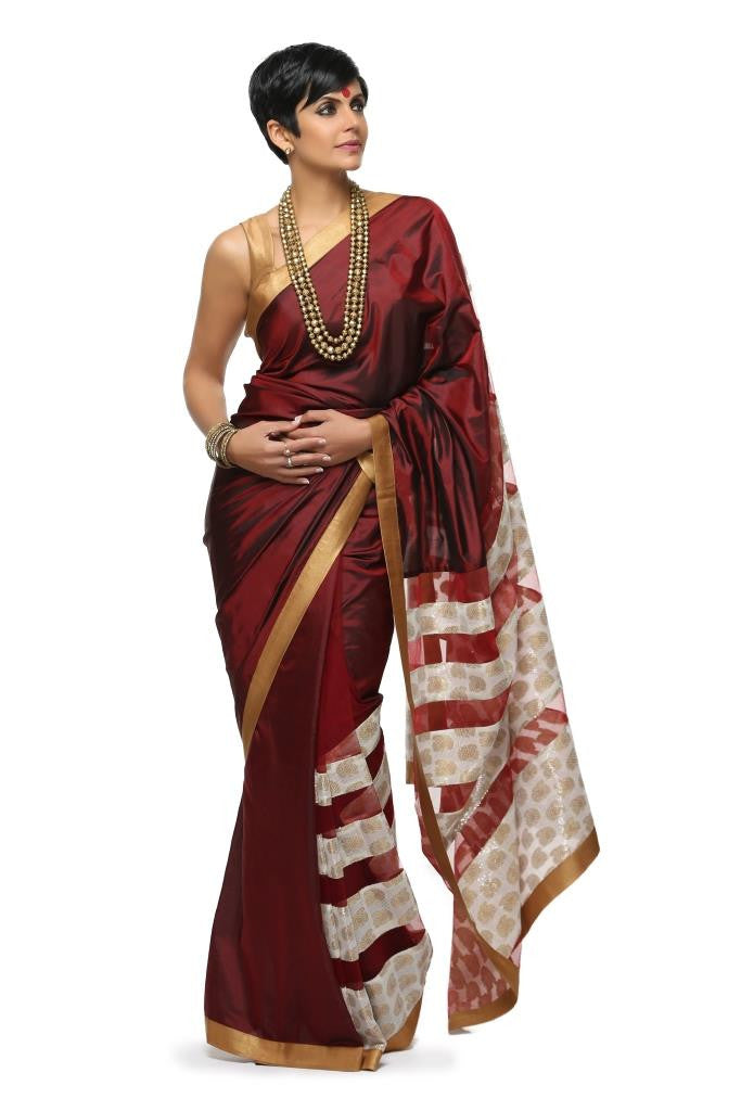 Maroon Sari with Sequnis panels