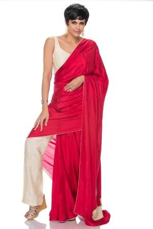 Off White Pant with Embellished Marron Pallu