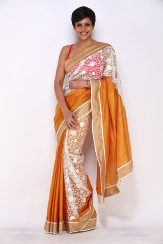 Mustard Saree with Gold Border