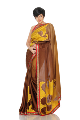 Brown shaded saree with embroidered logo