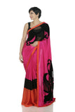 Pink saree with cut work flower motif