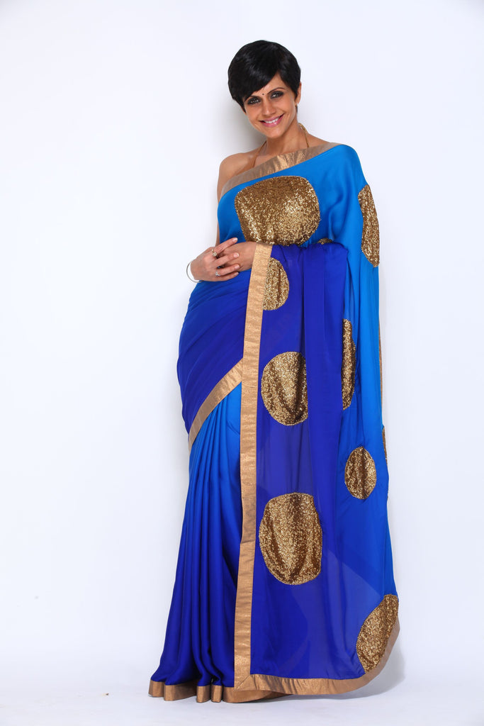 Blue Saree with Sequin Polka Dots