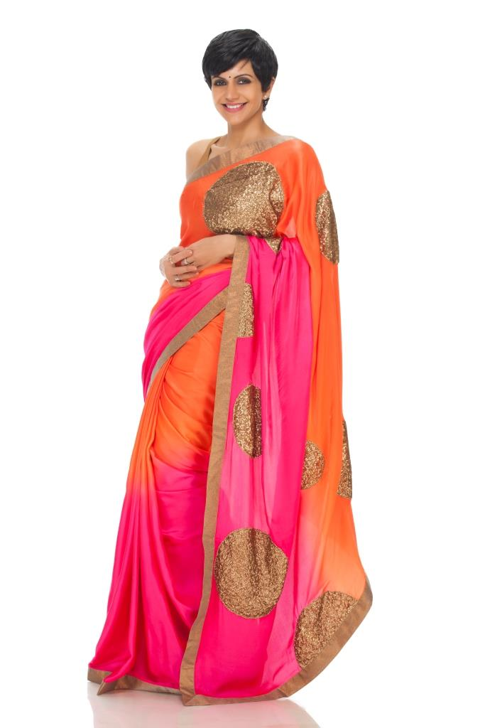 Pink Orange Saree with Sequin Polka Dots