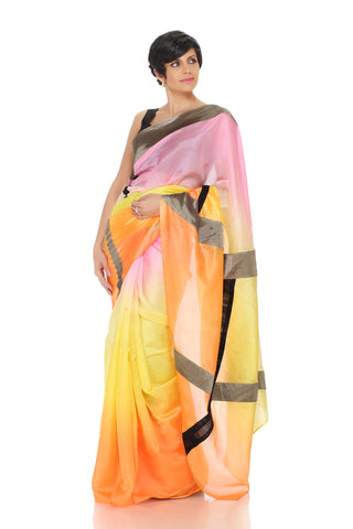 Tri-color saree with patchwork geometric lines