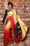 Beige to Red Shaded Satin sari with Leaf Embroidery