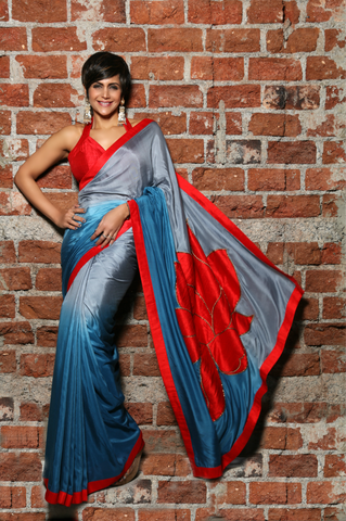 Grey to Teal Blue Shaded Cotton silk sari with Lotus Embroidery