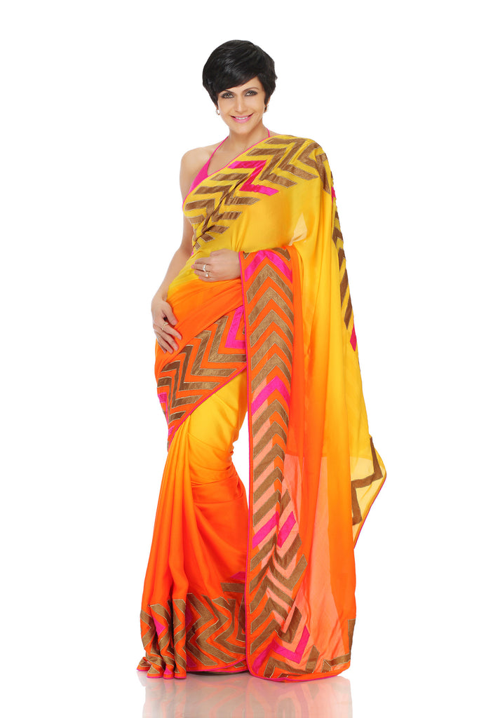 Yellow to orange shaded saree with Patchwork