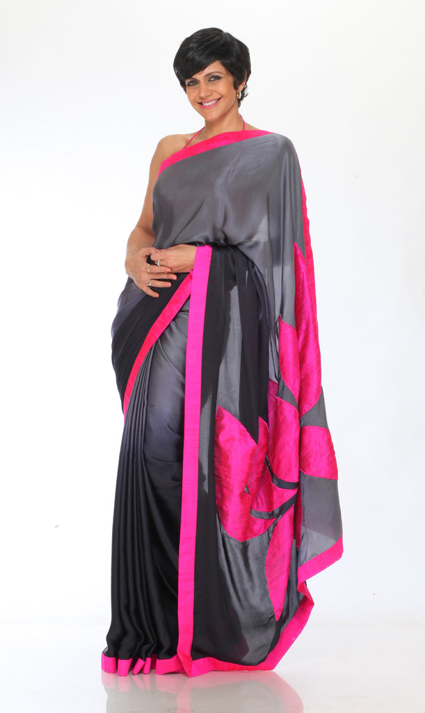 Grey Shaded saree with Lotus Patchwork on Pallu