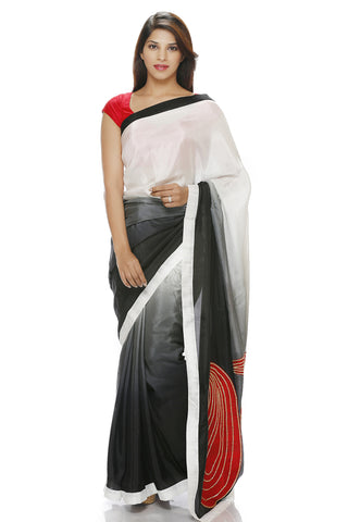 White to grey shaded saree with red paisley motif