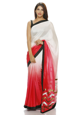 White to red shaded saree with leather