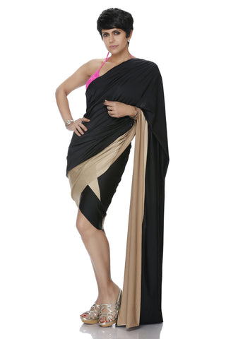 MINI LYCRA BLACK AND GOLD SAREE