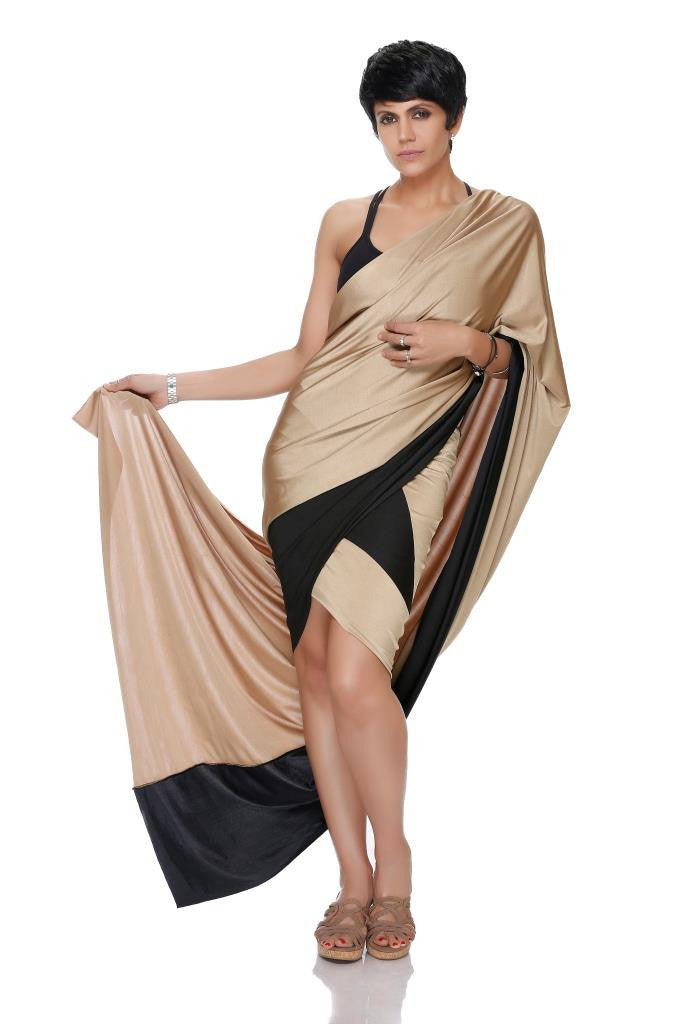 MINI LYCRA GOLD AND BLACK SAREE WITH GOLD PALLU