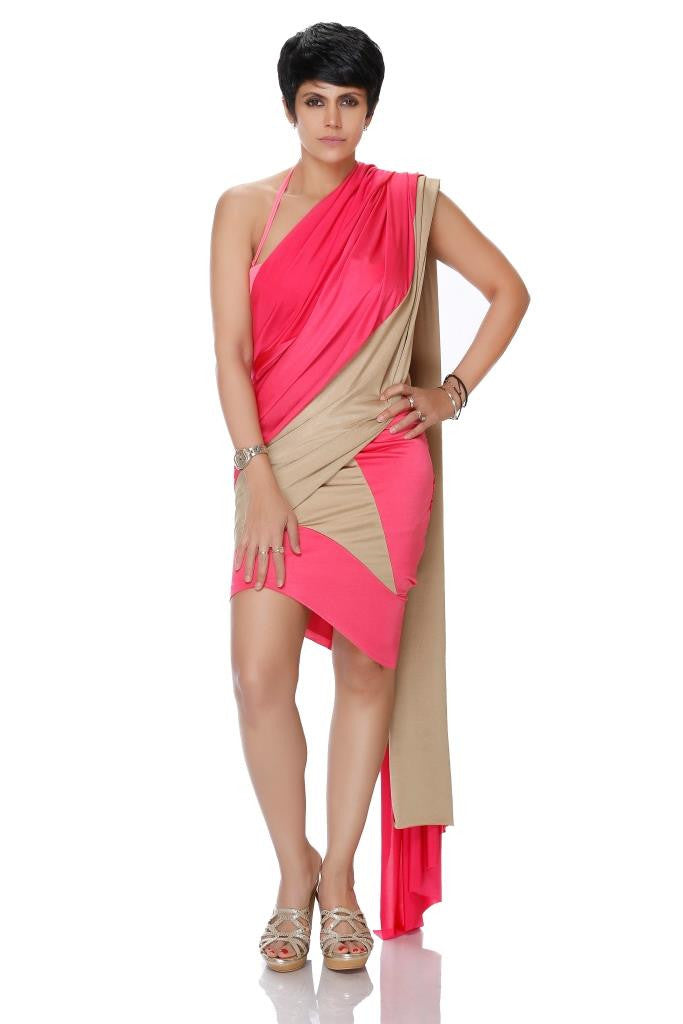 GOLD AND PINK MINI LYCRA SAREE