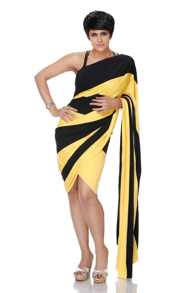 MINI BLACK AND YELLOW LYCRA SAREE
