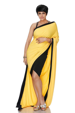 YELLOW AND BLACK MINI LYCRA SAREE
