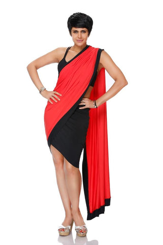 BLACK MINI LYCRA SAREE WITH A RED PALLU