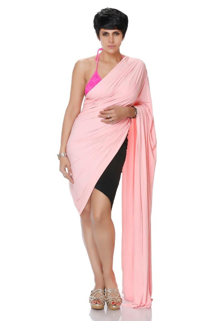 BLACK MINI LYCRA SAREE WITH A PINK PALLU
