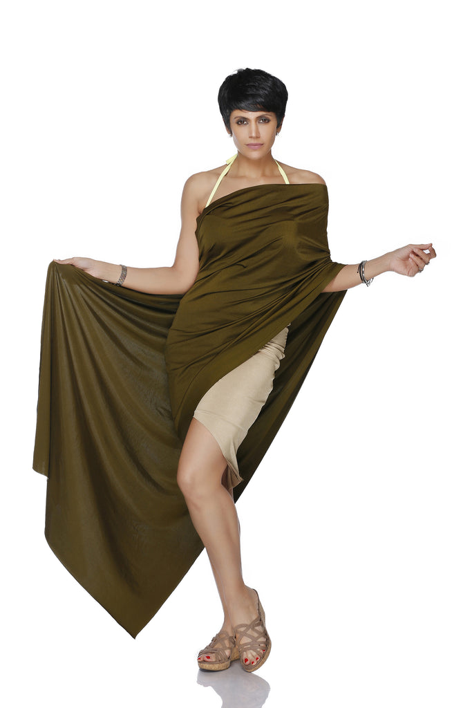 GOLD MINI LYCRA SAREE WITH A OLIVE GREEN PALLU